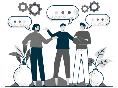 Multilingual Accommodation Shown with Three People and Talking Bubbles