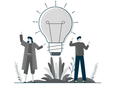 Team Support Needs with Lightbulb in Center and Two People